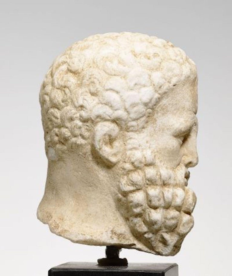 "Head ""Herakles Farnese"" Hellenistic, ca. 2nd/1st c.BC, White Crystalline Marble  In Good Condition For Sale In London, GB"