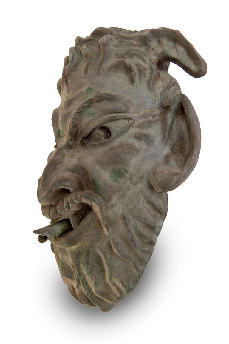 French Head of a Faun Mask Wall Fountain For Sale