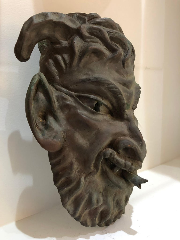 Bronze Head of a Faun Mask Wall Fountain For Sale