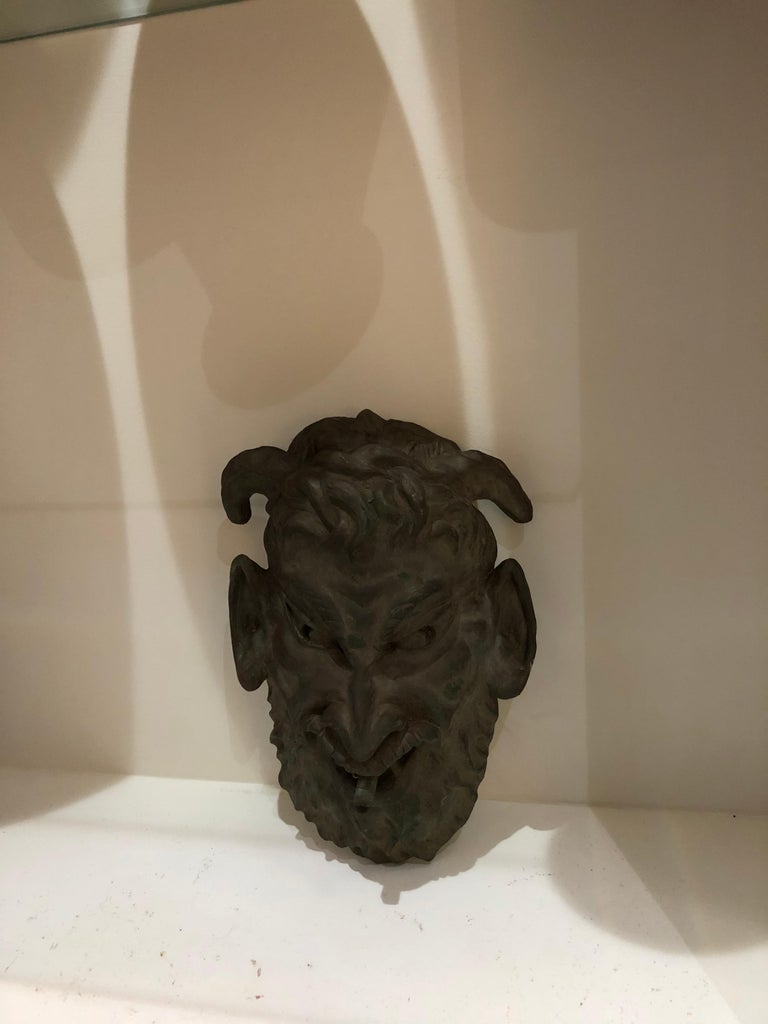 Head of a Faun Mask Wall Fountain For Sale 1