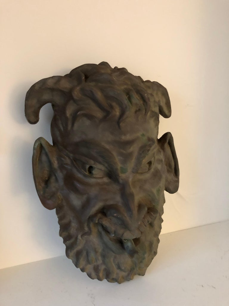 Head of a Faun Mask Wall Fountain For Sale 3