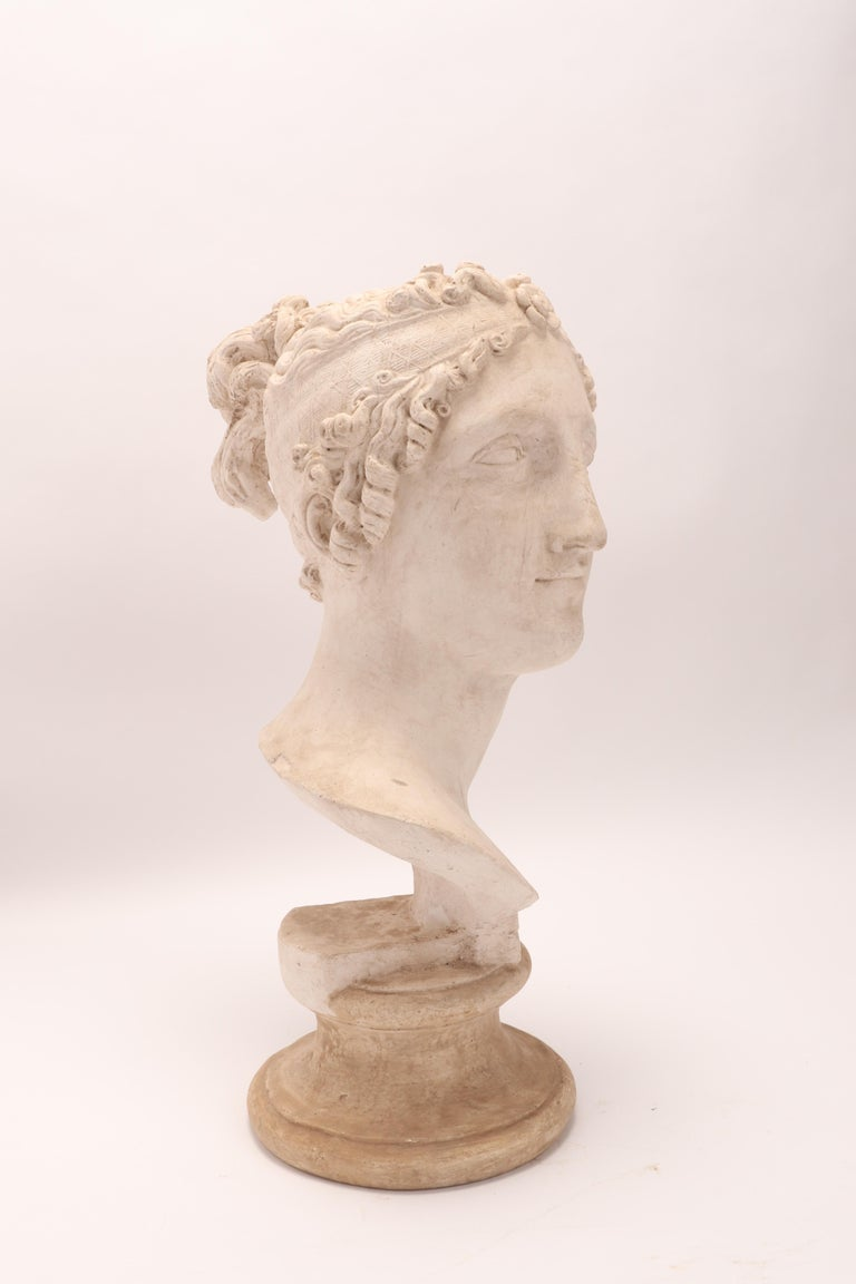 Plaster Head of a Women Neoclassic Portrait, Italy, 1890 For Sale