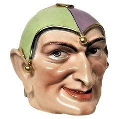 Head of Jester, Vintage European Art Deco Porcelain Sculpture, ca. 1930's