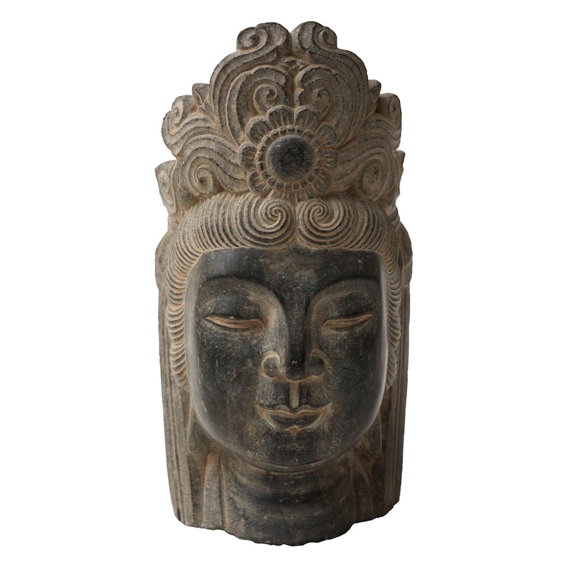 Head of Oriental Divinity, Vintage Stone Sculpture, Early 20th Century