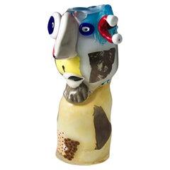 Head Sculpture Multicoulor Fusion Glass 20th Century Italian Studio Glass
