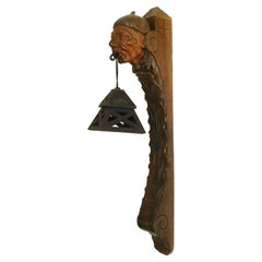 Head Wall Sconce Lantern Light French Basque Sculpted Wood, c1920