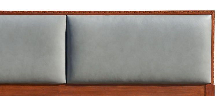 Leather Rare King-Size Headboard by Frank Lloyd Wright For Sale