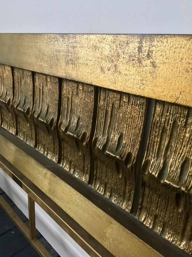 Headboard of Cast and Hammered Brass by Luciano Frigerio, Italy For Sale 3
