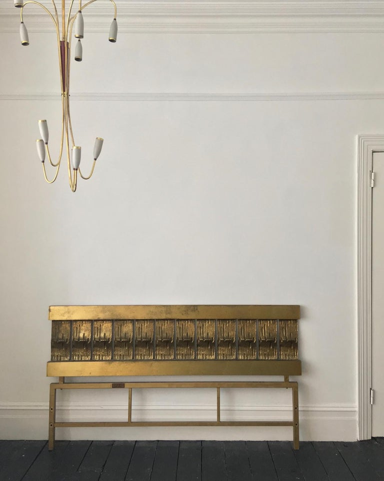 Headboard of Cast and Hammered Brass by Luciano Frigerio, Italy For Sale 6
