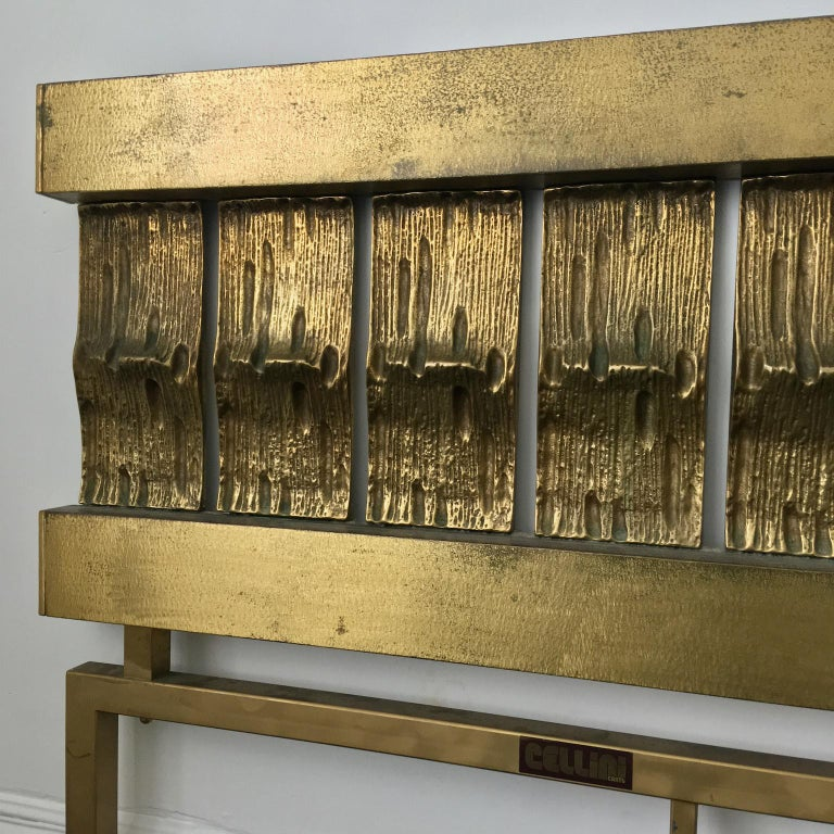 Mid-Century Modern Headboard of Cast and Hammered Brass by Luciano Frigerio, Italy For Sale