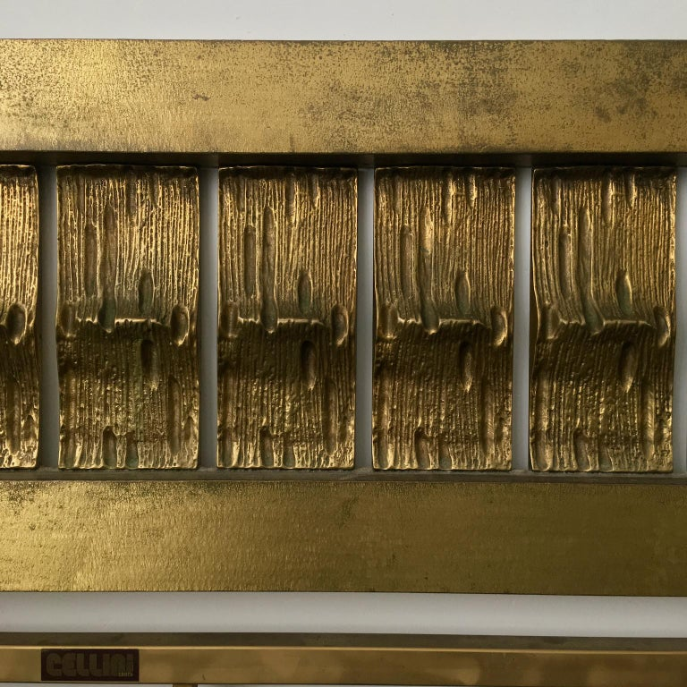 Italian Headboard of Cast and Hammered Brass by Luciano Frigerio, Italy For Sale