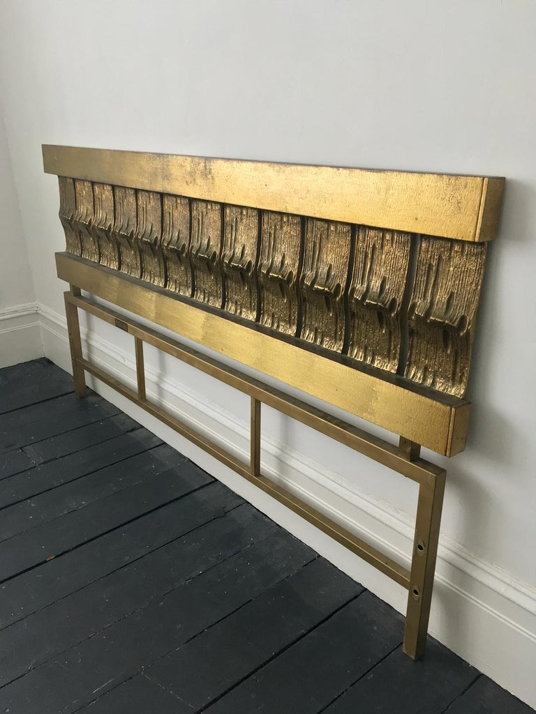 Metal Headboard of Cast and Hammered Brass by Luciano Frigerio, Italy For Sale