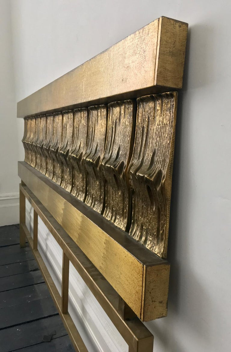 Headboard of Cast and Hammered Brass by Luciano Frigerio, Italy For Sale 1