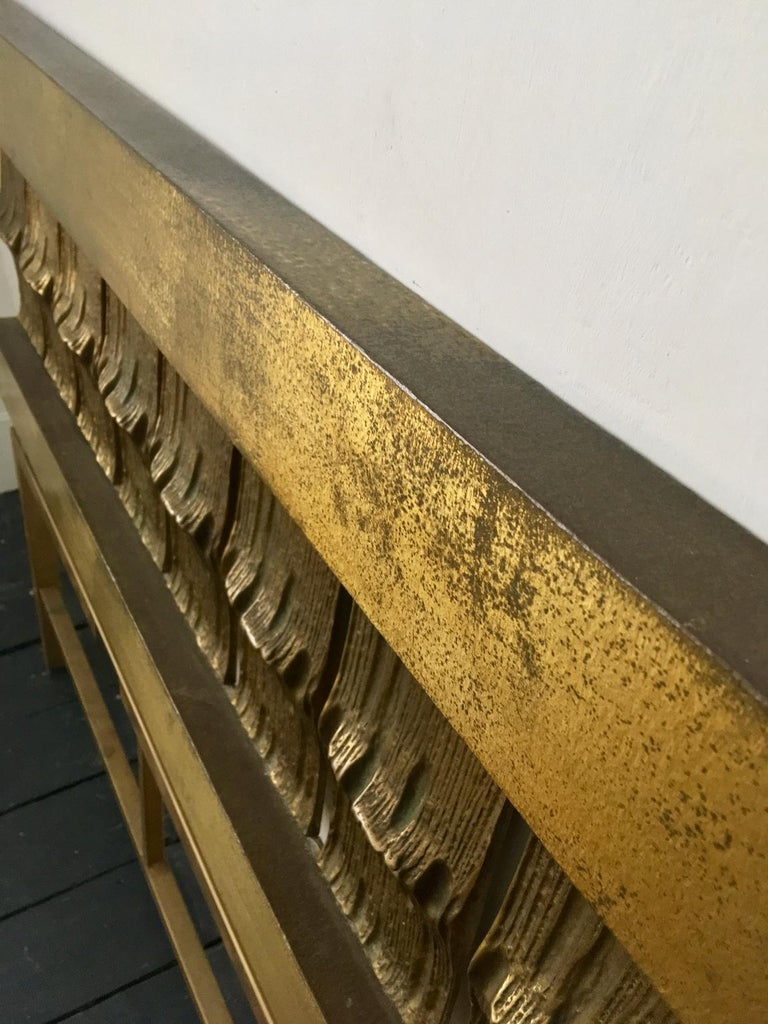 Headboard of Cast and Hammered Brass by Luciano Frigerio, Italy For Sale 2