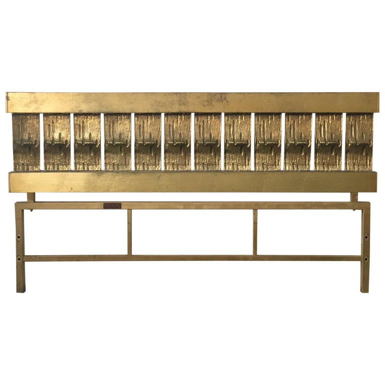 Headboard of Cast and Hammered Brass by Luciano Frigerio, Italy For Sale
