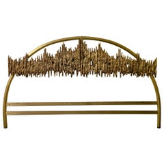 Headboard with Brutalist Bronze Sculpture by Frigerio, Italy, 1968