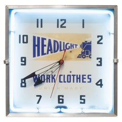 Headlight Work Clothes Union Made Neon Wall Clock, circa 1949