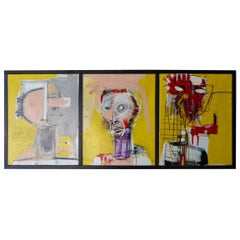 Heads 1, 2, 3, A Triptych Dated 2019 by Adam Henderson