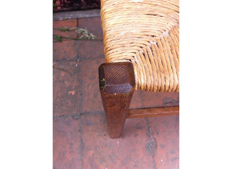 Heals, an Arts & Crafts Oak Rush Seat Lattice Back Side Chair In Good Condition For Sale In London, GB