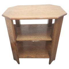 Heals, An English Arts & Crafts Oak Side Table with Three Tiers & Canted Corners