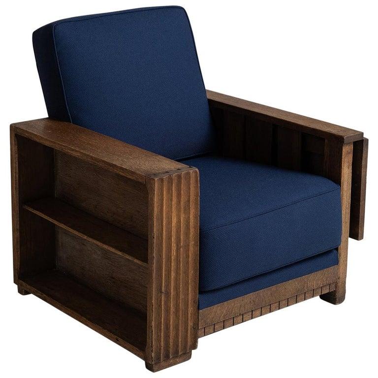 Heals of London Oak Reading Armchair For Sale