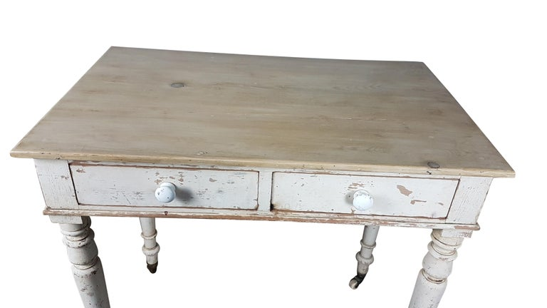 English Heals & Sons Pine Side Table in Original Painted Finish For Sale