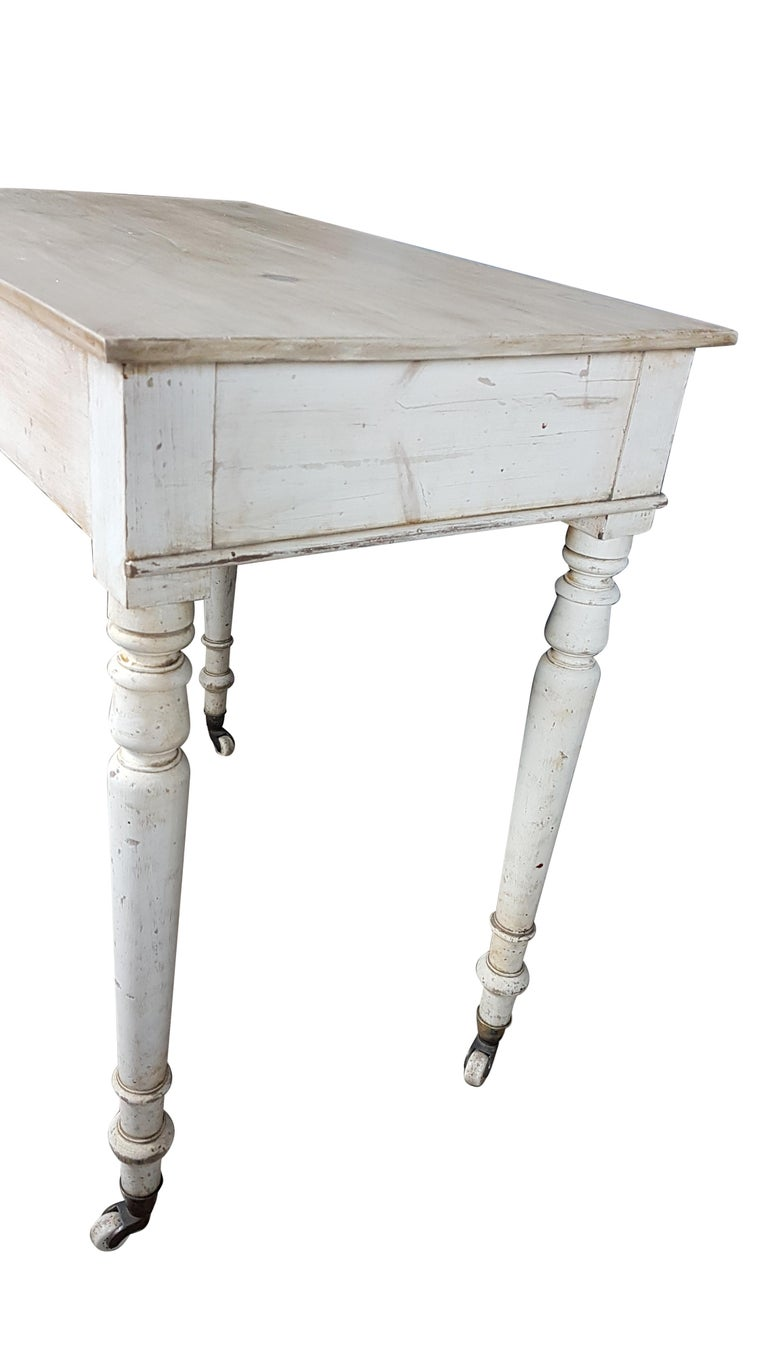 Heals & Sons Pine Side Table in Original Painted Finish In Distressed Condition For Sale In Bodicote, Oxfordshire