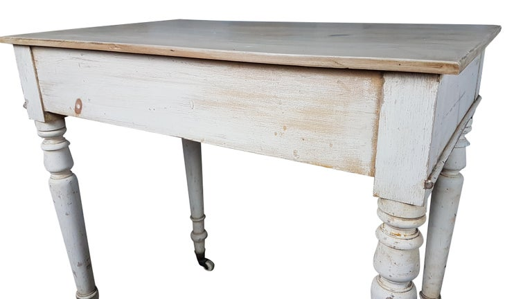 Late 19th Century Heals & Sons Pine Side Table in Original Painted Finish For Sale