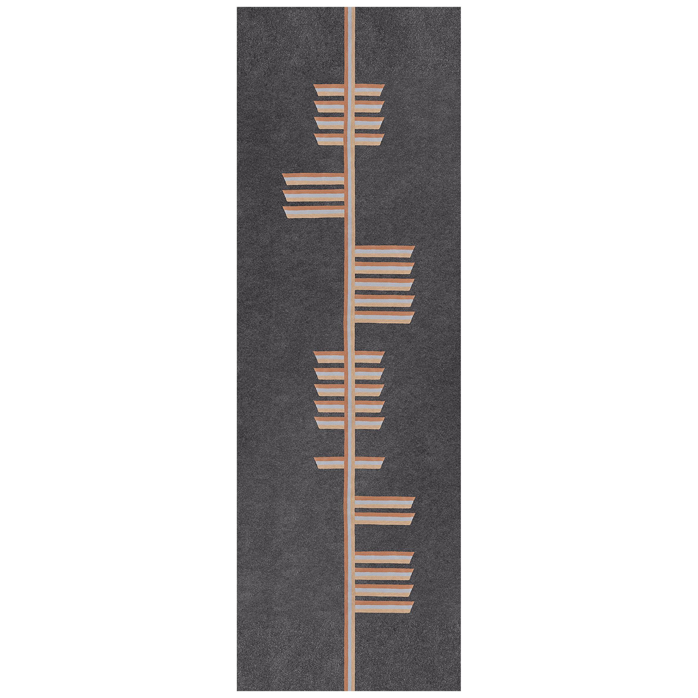 """Health"" Beige, Owl Grey Wool Tree Alphabet Carpet and Tapestry by Rhyme Studio"
