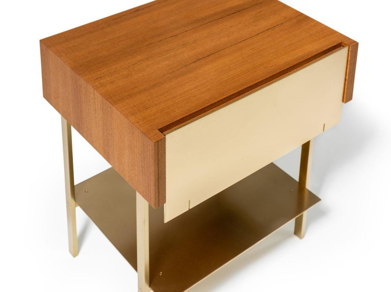 Modern Hearns End Table with Teak Body and Brass Front, Shelf and Legs For Sale