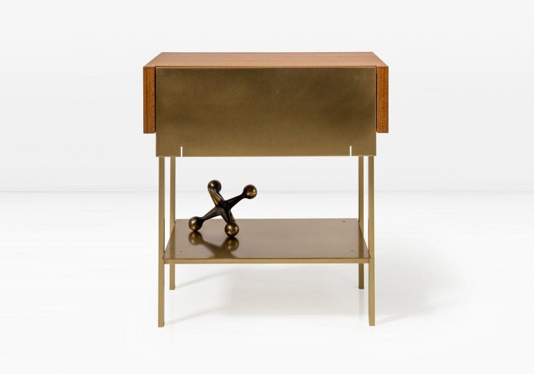 Veneer Hearns End Table with Teak Body and Brass Front, Shelf and Legs For Sale