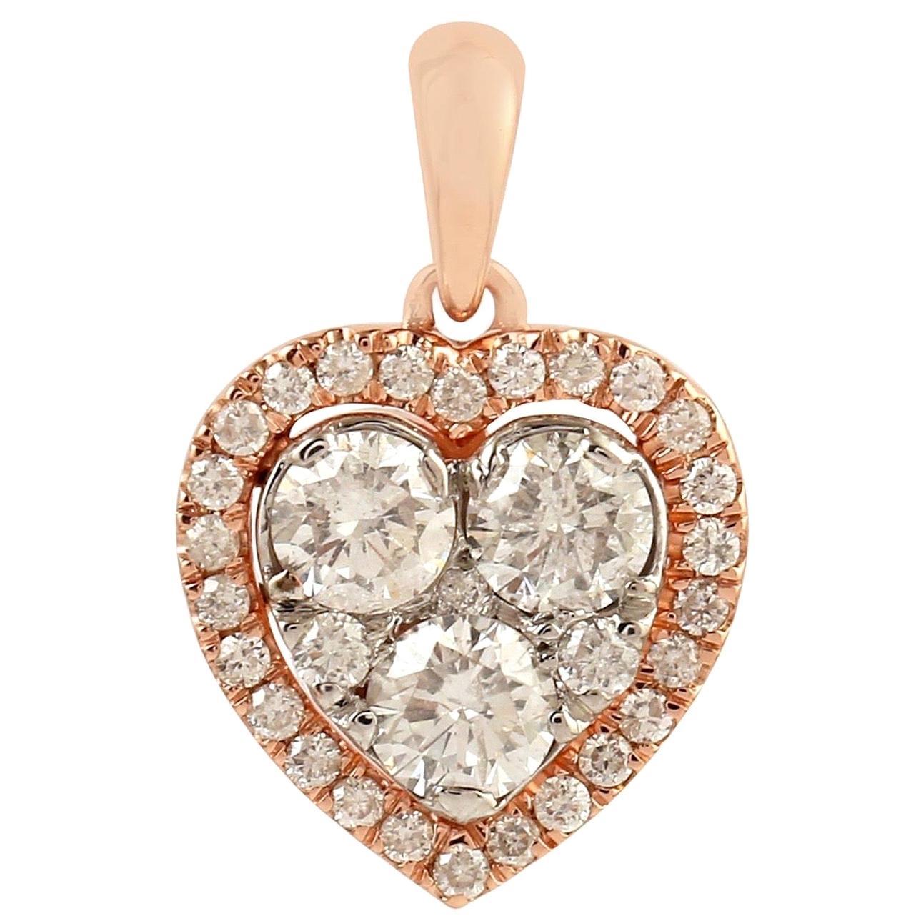 Heart 18 Karat Gold Diamond Pendant Necklace