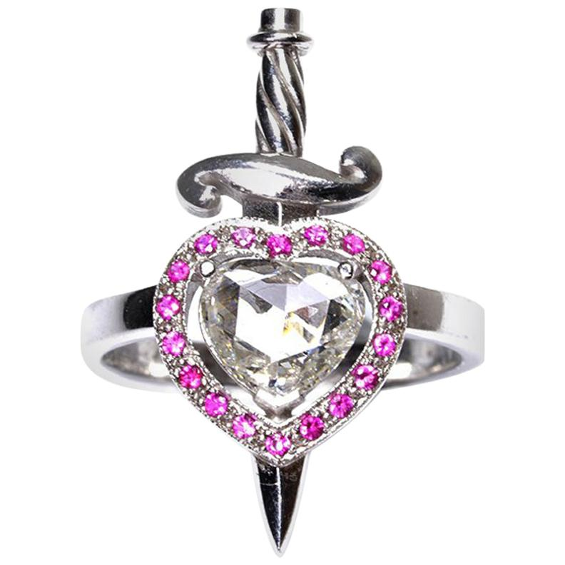 Heart and Dagger Ring in 18kt White Gold with Heart Shaped Diamond and Rubies