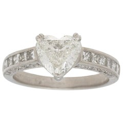 Heart and Princess Cut Diamond Engagement Ring Set in Platinum