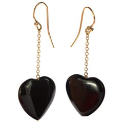 Heart Black Agate Love Yellow Gold Dangle Valentine's Day Drop Earwire Earrings