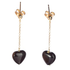 Heart Black Agate Yellow Gold Dangle Valentine's Day Drop Love Chic Earrings