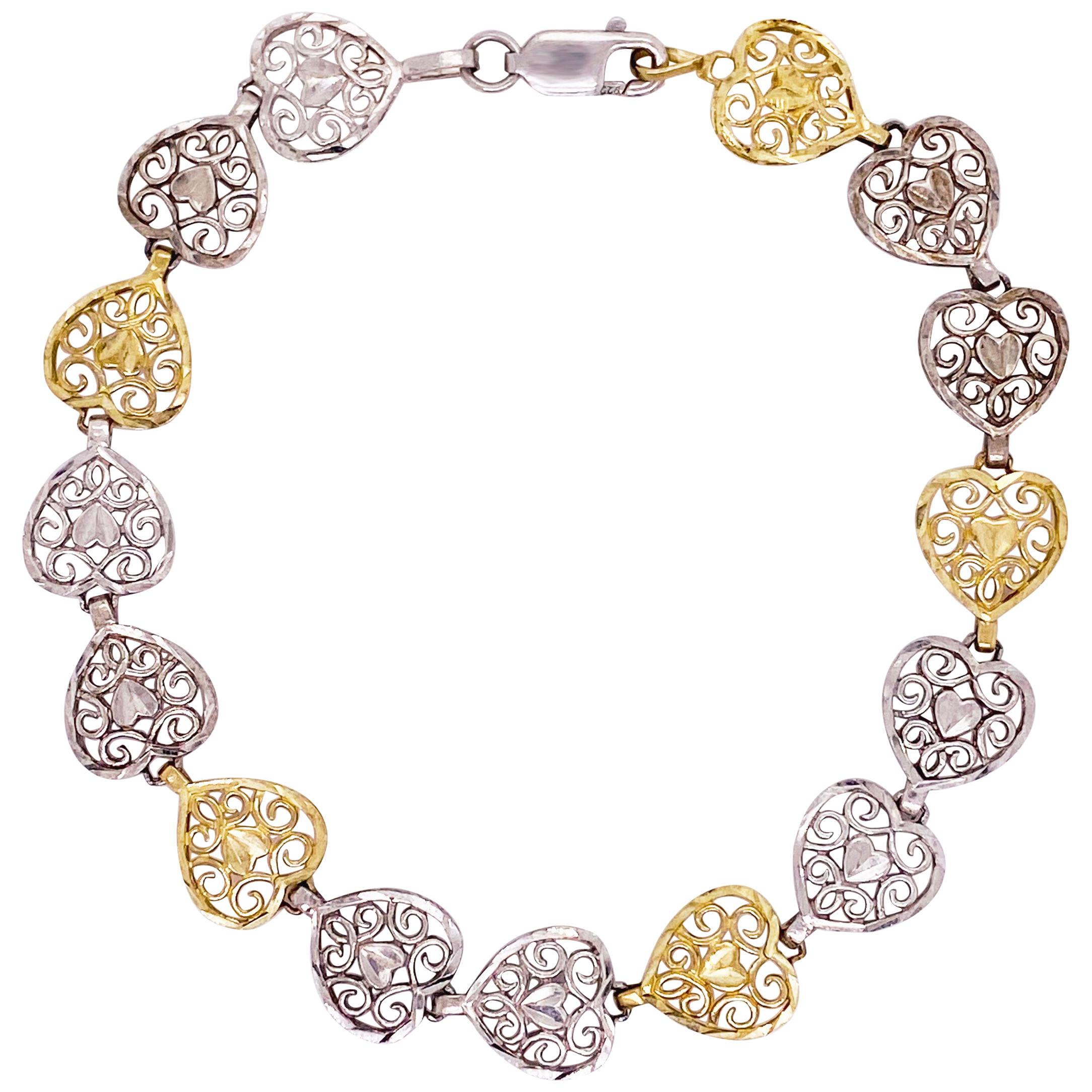 Heart Bracelet Gold and Silver, 10k, Heart Links, Yellow Gold, Sterling Silver