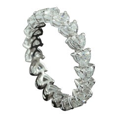 Heart Brilliant Diamond 0.15 Carat Each Eternity Ring in 18 Karat Gold