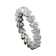 Heart Brilliant Diamond 0.20 Carat Each Eternity Ring in 18 Karat Gold