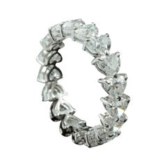 Heart Brilliant Diamond 0.25 Carat Each Stone Eternity Ring in 18 Karat Gold