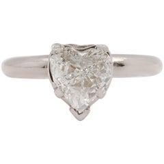 Heart Brilliant Diamond Ring Solitaire 0.97 Carat H I1 14 Karat White Gold