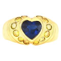 Heart Ceylon Sapphire and Natural Yellow Diamonds Ring