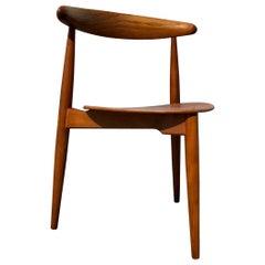 Heart Chair in Oak & Teak by Hans Jorgen Wegner for Fritz Hansen, 1950s