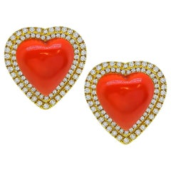 Heart Coral Diamond Gold Earrings