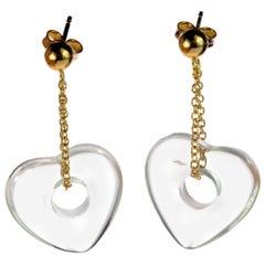 Heart Crystal Rock 18 Karat Yellow Gold Dangle Valentine's Day Earrings