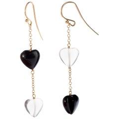 Heart Crystal Rock Agate 18 Karat Yellow Gold Dangle Valentine's Day Earrings