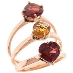 Heart Cut Garnet Rose Cut Citrine 9 Karat Rose Gold Ring Handcrafted in Italy