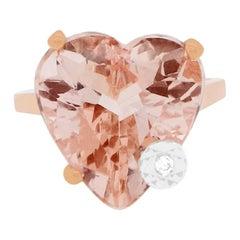 Heart Cut Pink Morganite 14 Karat Rose Gold White Diamond Fashion Ring