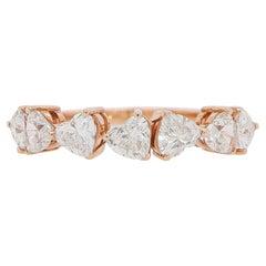 Heart Diamond Ring Half Eternity 1.49 Carats 18K Rose Gold