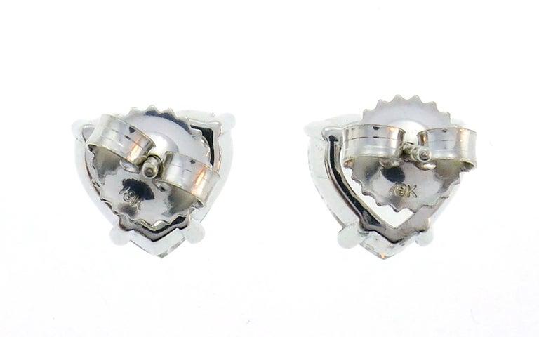 Women's or Men's Heart Diamond White Gold Stud Earrings For Sale